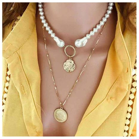 Multi-layer necklace female gold queen coin card neck handmade beaded shaped pearl NHCT175218's discount tags