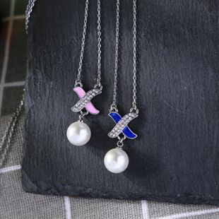 Pendant female fashion temperament clavicle chain creative personality X-shaped diamond pearl NHQD175411's discount tags