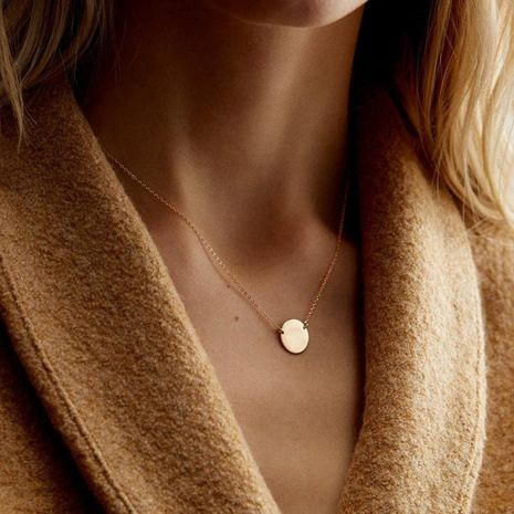 Stainless steel round necklace geometric pendant clavicle chain NHTF175299's discount tags