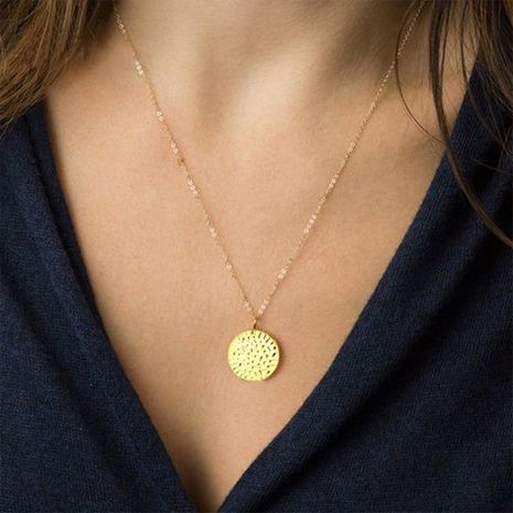 Stainless steel round pendant necklace NHTF175303's discount tags
