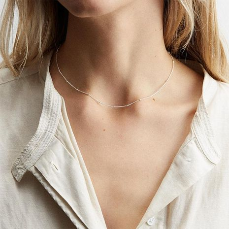 Clavicle chain simple stainless steel necklace female rose gold NHTF175306's discount tags