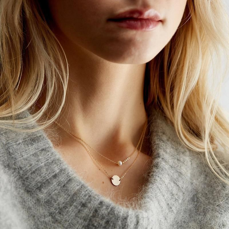 Pearl necklace stainless steel round pendant female double layer NHTF175309