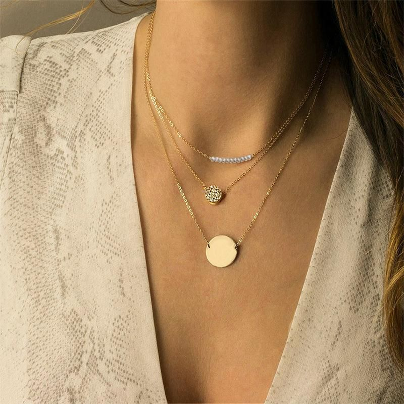 316L necklace multi-layer stainless steel necklace female round pendant NHTF175312