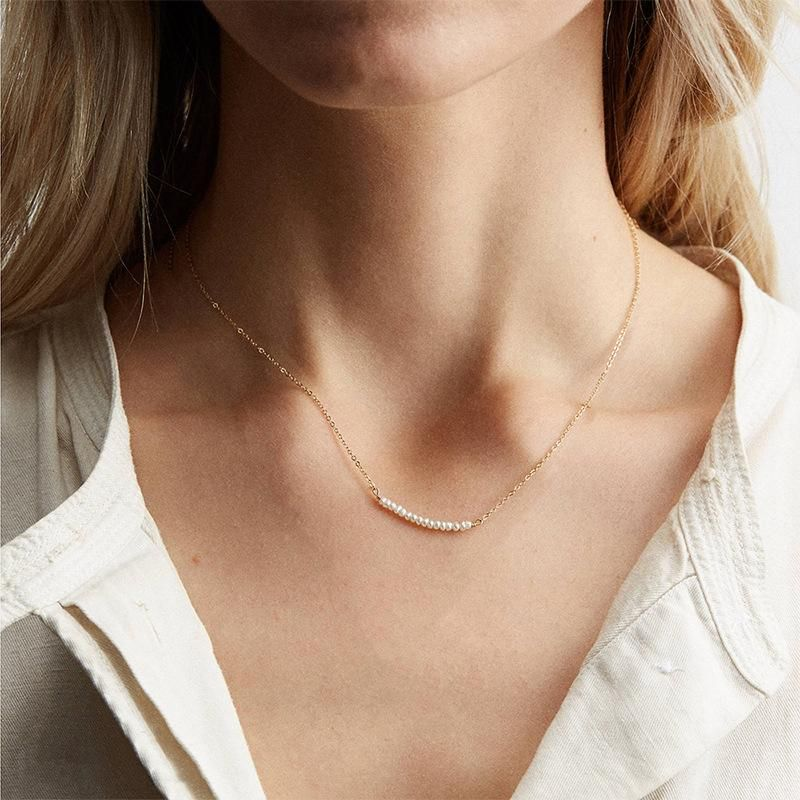 Jewelry short clavicle chain female pearl necklace 316L stainless steel necklace NHTF175311