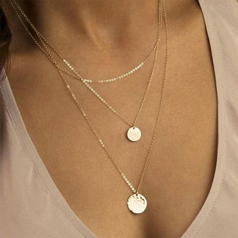 Multi-layer stainless steel necklace female geometric round pendant 316L jewelry NHTF175315's discount tags