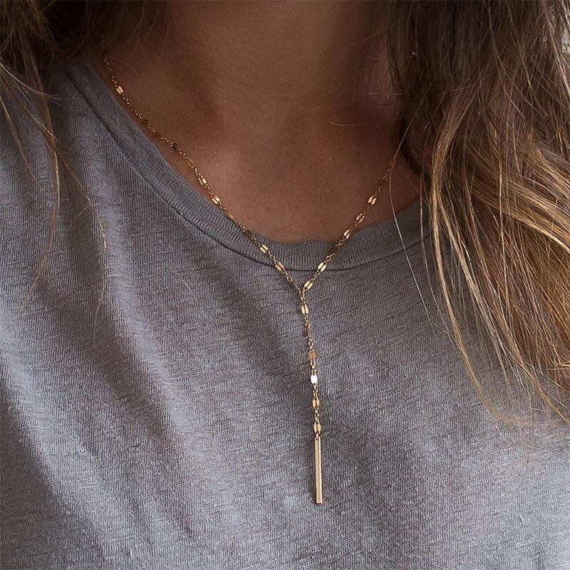 Nuevo collar de cadena de acero inoxidable hembra simple chapado en oro cadena de clavícula 316L accesorios NHTF175321