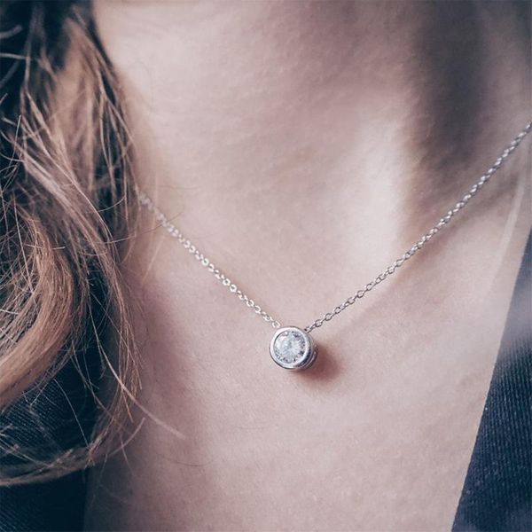 Simple single zircon pendant female short stainless steel necklace 316L necklace NHTF175325