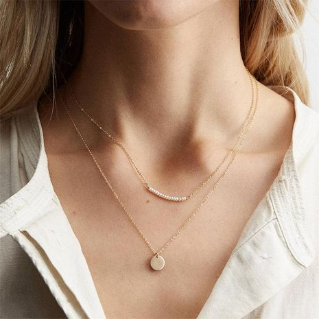 316L jewelry simple double pearl necklace stainless steel necklace gold-plated clavicle chain NHTF175328's discount tags