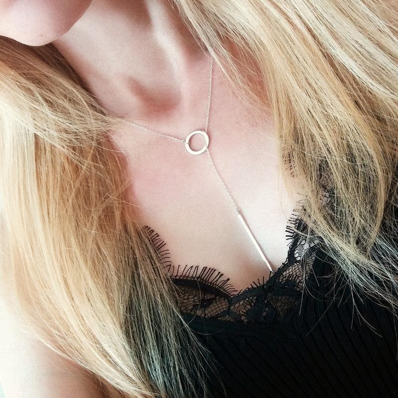 Cadena de clavícula de acero inoxidable geométrica redonda collar corto 316L accesorios NHTF175338
