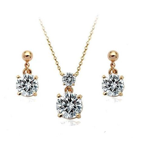 Simple Jewelry Exquisite Compact Zircon Pendant Necklace Earrings Set Decoration NHLJ175265's discount tags