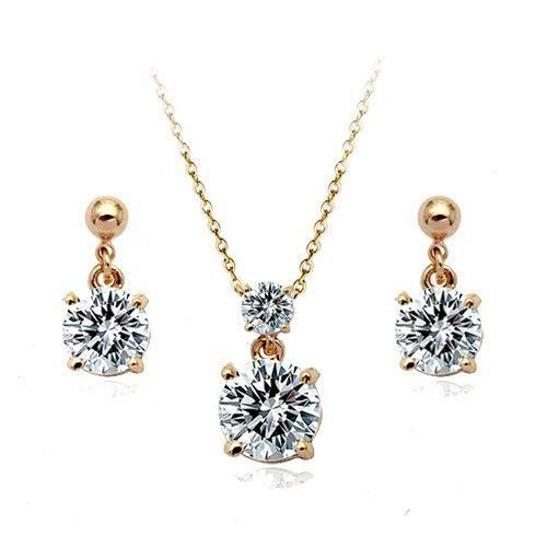 Simple Jewelry Exquisite Compact Zircon Pendant Necklace Earrings Set Decoration NHLJ175265