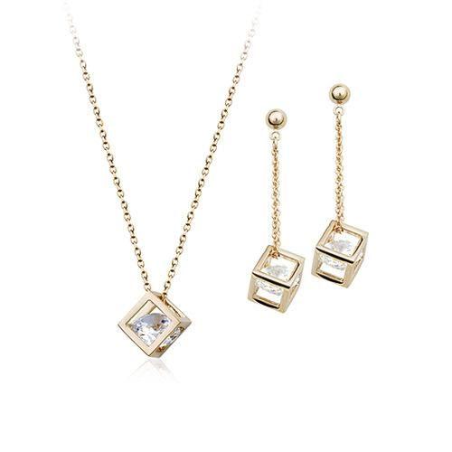 Set de Aretes y collar de cuerpo cuadrado con joyas de circonitas 2 piezas  NHLJ175281