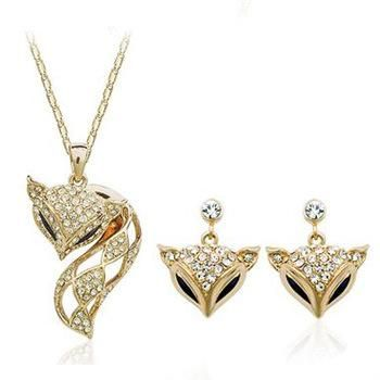 Crystal Necklace Earrings Two-piece Women's Accessories Fox Jewelry Set NHLJ175284's discount tags