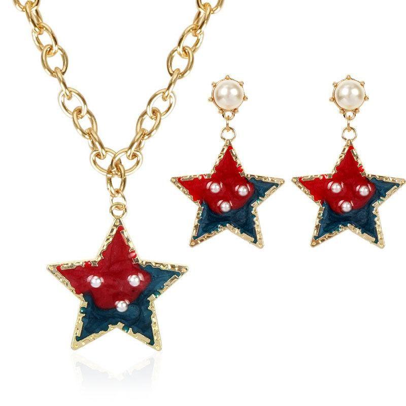 Conjunto de collar para mujer simple personalidad pendientes de estrella de cinco puntas NHCT175222