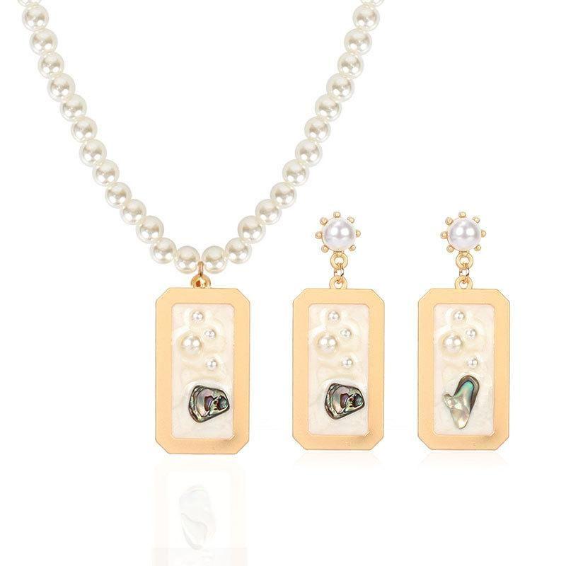 Set jewelry female imitation pearl earrings necklace choker NHCT175224