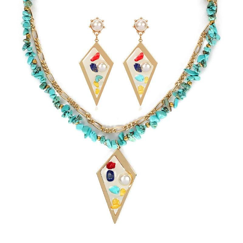 Necklace earrings set double turquoise NHCT175223