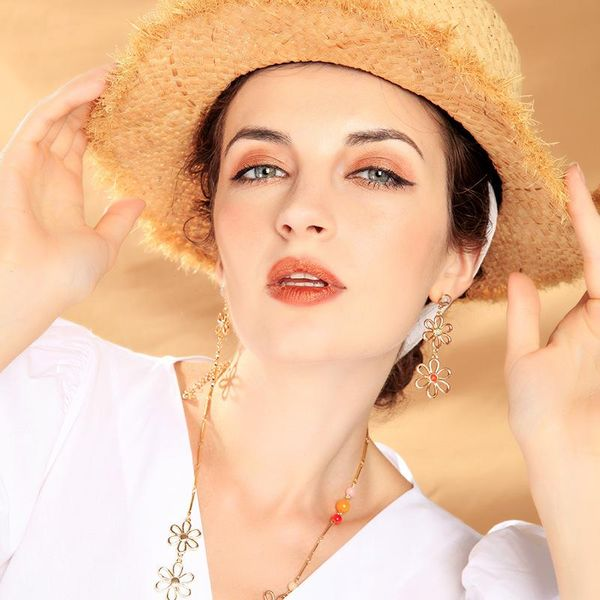 Fashion electroplated flower earrings long earrings female new hollow simple silver earrings NHQD175395