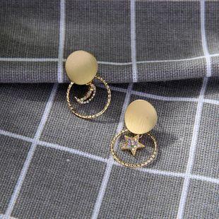 New S925 Sterling Silver Stud Earrings with Diamonds Red Earrings Creative Geometric Asymmetric Stud Earrings NHQD175418's discount tags