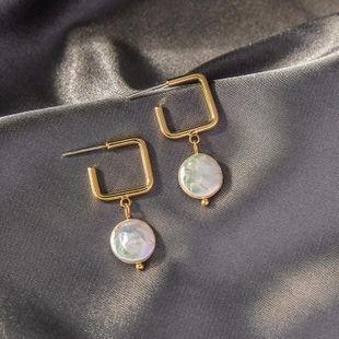 S925 silver earrings fashion creative geometric earrings new shell pearl earrings NHQD175422's discount tags