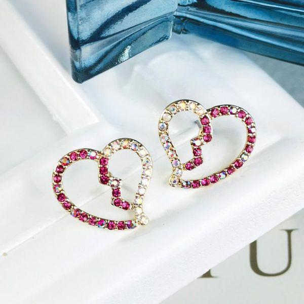 Simple and cute heart-shaped colorful diamond stud earrings fashion earrings NHQD175429