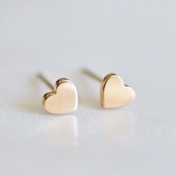 Heart-shaped earrings simple stainless steel gold-plated ladies earrings 316L accessories NHTF175316