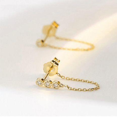 Earrings fashion stainless steel inlaid zircon earrings 316L chain tassel earrings NHTF175322's discount tags