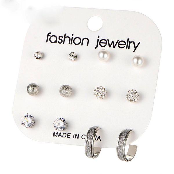 New Simple Earrings Set 6 Piece Set Vintage Scrub Shambala Rhinestone Stud Earrings Set NHPJ175358