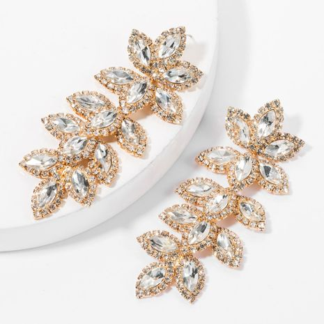 Europe and America exaggerated claw chain alloy diamond rhinestone glass drill multi-layer leaf earrings female tide female eye-catching super flash earrings NHJE175291's discount tags