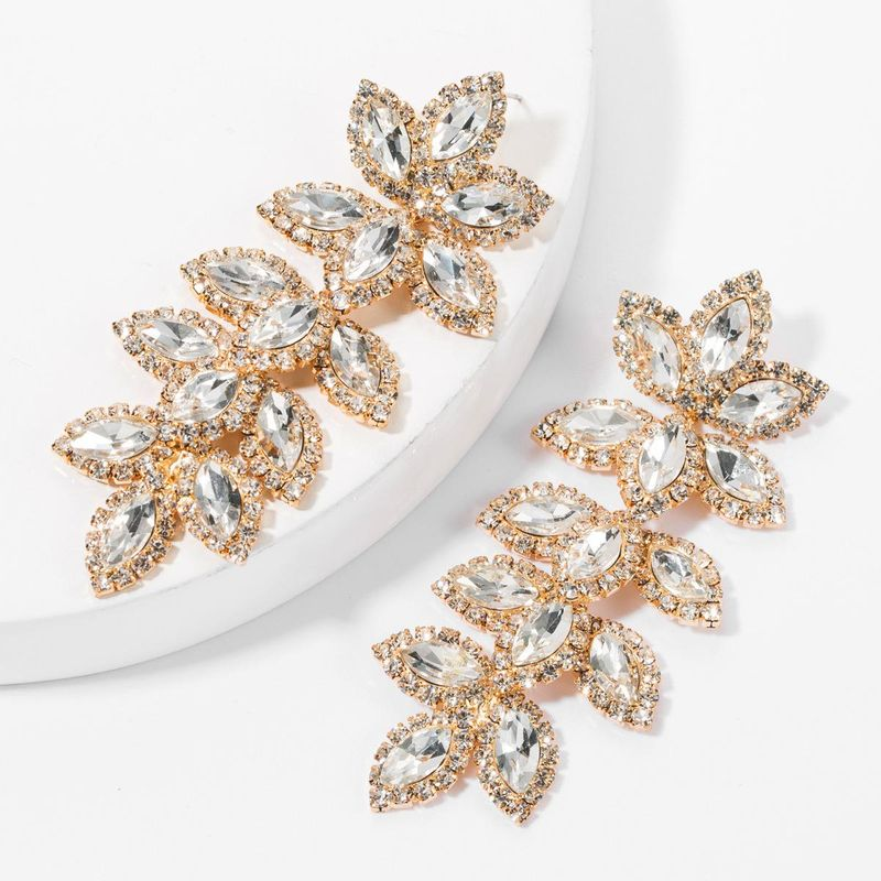 Europe and America exaggerated claw chain alloy diamond rhinestone glass drill multi-layer leaf earrings female tide female eye-catching super flash earrings NHJE175291