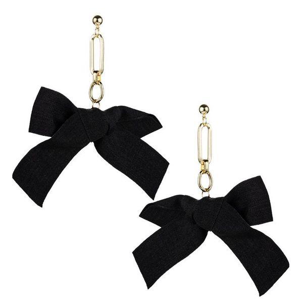 Sweet alloy simple bow earrings female tassel creative earrings NHLN175531