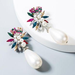 Fashion Jewelry Earrings Women's Alloy Rhinestone Long Large Pearl Stud Earrings NHLN175538's discount tags