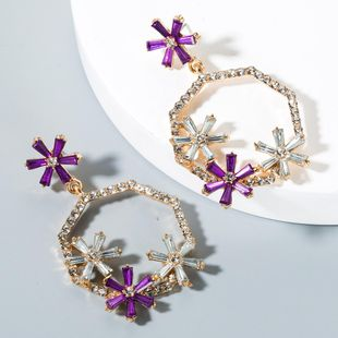 Earrings female geometric color alloy glass rhinestone hollow earrings flower earrings with accessories NHLN175539's discount tags