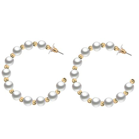 New retro pearl big ear ring creative simple metal ball letter C type earrings NHPJ175365's discount tags