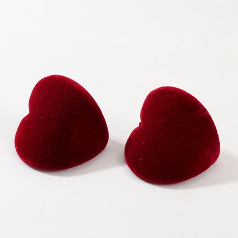 Jewelry new gold velvet love earrings fashion red heart small earrings NHNZ175199