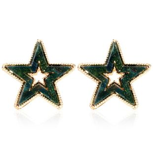 Retro ear jewelry pentagram star acetate plate fashion simple earrings NHCT175215's discount tags