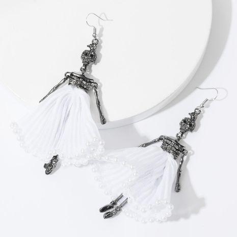 Earrings new alloy diamond rhinestone lace skull earrings female ear hook NHJE175295's discount tags
