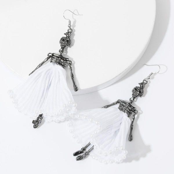 Earrings new alloy diamond rhinestone lace skull earrings female ear hook NHJE175295
