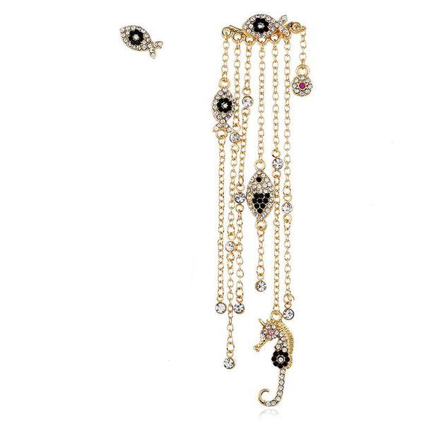 Fashion alloy diamond long tassel asymmetric earrings female NHVA175498