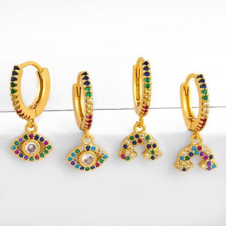 Micro-inlaid zircon rainbow earrings female small earrings NHAS175381's discount tags