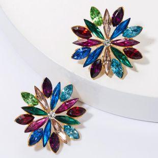 Earrings alloy diamond rhinestone flower earrings female simple NHJE175285's discount tags