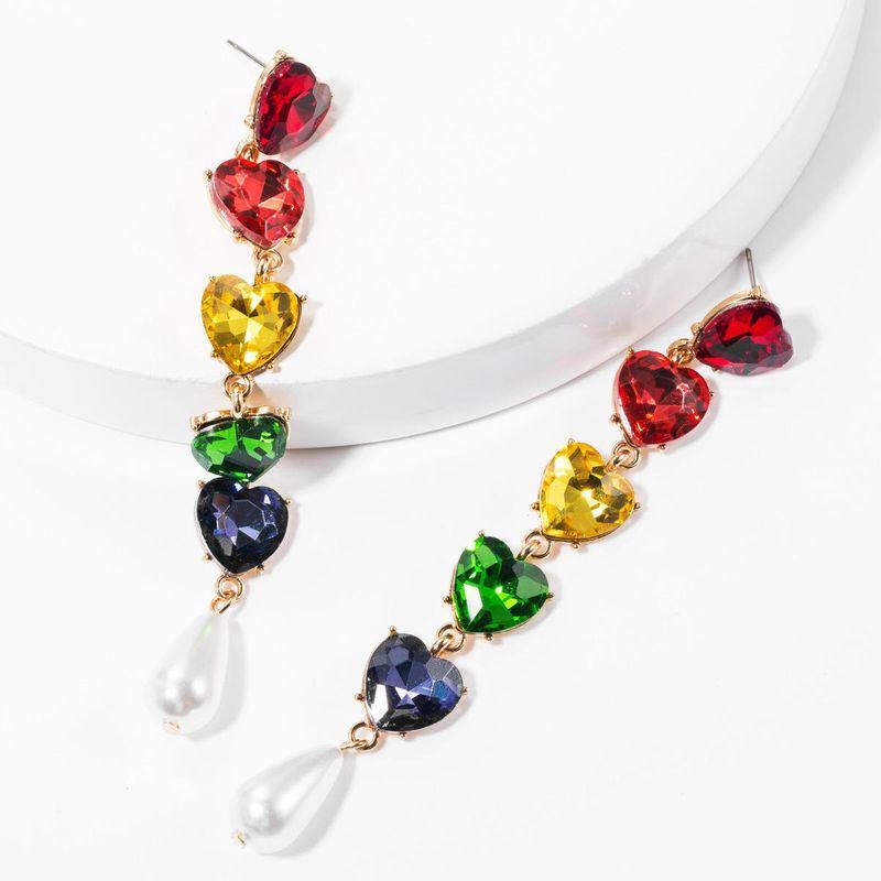 Multi-layer alloy diamond-studded glass diamond love heart-shaped imitation pearl earrings female sweet earrings NHJE175287
