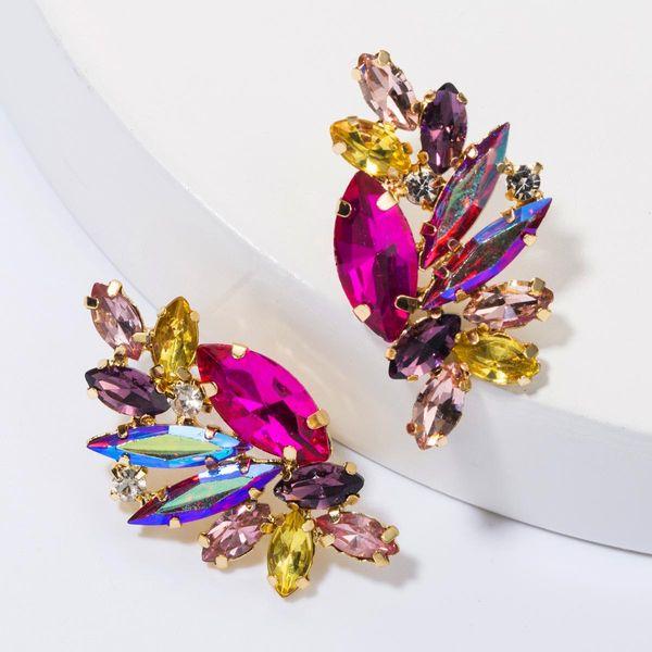Fashion alloy diamond rhinestone full diamond earrings female simple earrings NHJE175289