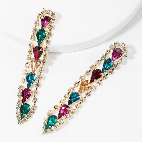 Multi-layer drop-shaped glass drill alloy rhinestone diamond long earrings female NHJE175290's discount tags