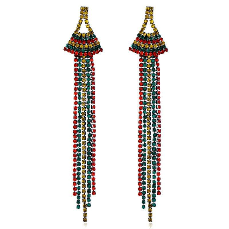 Fashion long claw drill tassel earrings retro diamond earrings female NHVA175484