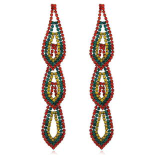 Long rhinestone tassel earrings fashion earrings exaggerated earrings female NHVA175493's discount tags