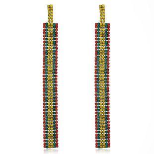 Multilayer Alloy Tassel Earrings Women's Diamond Color Long Earrings NHVA175494's discount tags