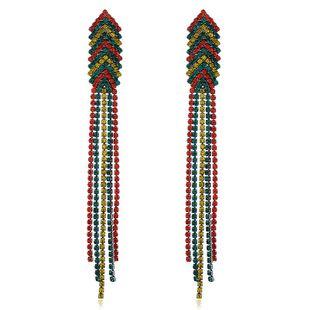Fashion long diamond-studded color alloy tassel earrings female NHVA175501's discount tags