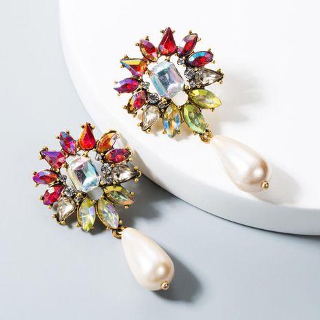 Fashion alloy flower earrings female long rhinestone pearl earrings retro creative earrings NHLN175534's discount tags