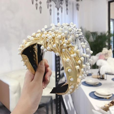 New metal punk pu imitation leather nails knotted screw knot wide-brimmed headband ladies NHSM175242's discount tags
