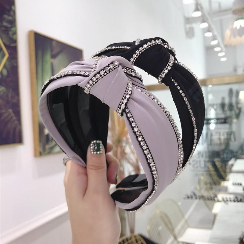High-end hair accessories solid color fabric with diamond knotted wide side with teeth headband female NHSM175254